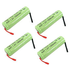 4 pcs AA 2A 1300mAh Ni-MH 1.2V Rechargeable Battery Flat Top with Tab US Stock