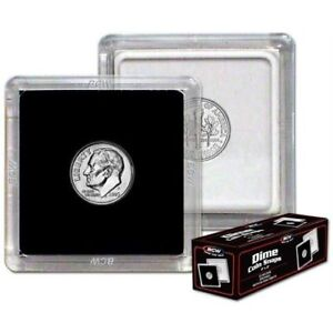 (500) BCW (2 x 2) COIN SNAPS - DIME - BLACK