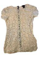 Moda International Victoria's Secret Lace Short Sleeve Ivory Blouse Size Medium