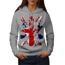 Wellcoda Rock&Roll Britain Womens Hoodie, Guitar Casual Hooded Sweatshirt