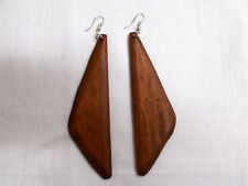 BOHEMIAN RICH BROWN STAINED WOOD TRIANGLE GEO SHAPED FLAT WOODEN EARRINGS 4 1/2""