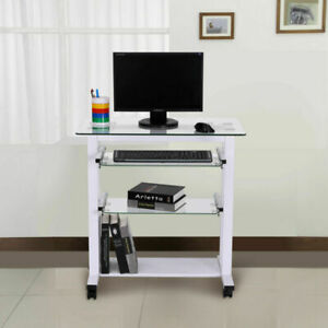 Computer Workstation Laptop PC Desk Glass Table Stand w/ Wheels