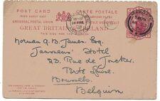 1899 H&B CP37 usado a Bruselas QV 1d carmín PS hacia afuera sólo Postal encantadora