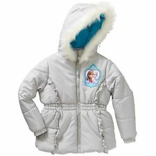 New Disney Frozen Girls' Sisters Forever Puffer Coat Silver Elsa Fur 4 5 XS M S