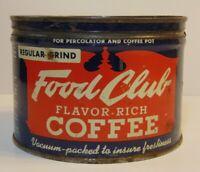 Old Vintage 1950s FOOD CLUB COFFEE KEYWIND COFFEE TIN ONE POUND CHICAGO ILLINOIS