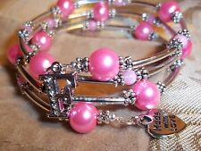 Hand Crafted PINK Pearl & Glass Bead ADJUSTABLE Coil CHARM Wrap Bracelet D-02