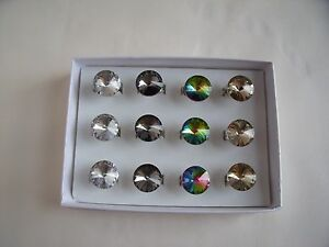Box of 12 New Adjustable Rings with a Glass Stone in Clear Grey Beige or Multi