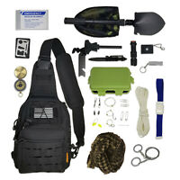 Sling Bag Bug Out Kit - Survival Pack Filled with Emergency Gear & Tools (Black)