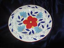 PIER 1 PORTALEGRE 2 DINNER PLATES RED BLUE FLOWERS FLORAL BLUE LEAF VINE