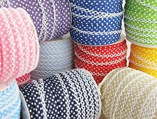 Polka Dot picot crochet / lace edged double fold bias binding per metre