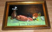 VINTAGE GARDEN VEGGIES SQUASH LOBSTER SEAFOOD GRAPES LEMON WINE FLOWERS PAINTING
