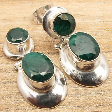 Simulated EMERALD STUD EARRINGS DANGLE ! 925 Silver Plated !