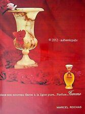 PUBLICITE PARFUM MARCEL ROCHAS FEMME FLEUR ROSE ROUGE DE 1965 PERFUME FRENCH AD