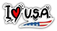 "I Love USA Travel Slogan Car Bumper Sticker Decal 6"" x 3"""