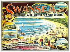 Swansea South Wales Seaside Resort Railway Vintage Old Picture Poster A4 Print
