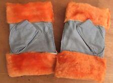 Arancione Grigio Donna Women 100% genuino vera pelle Pelle Di Pecora Guanti a dita meno