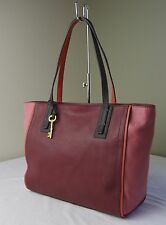 Fossil Red Wine Colorblock Leather Emma Shopper Tote