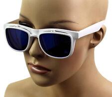 NEW NWT WOMEN'S RETRO FLIP UP REFLECTIVE/CLEAR LENS SUNGLASSES WHITE 1471