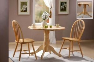 TRADITIONAL NATURAL DROP LEAF DINING SET 53cm +(2x 19cm) WITH 2 CHAIRS NATURAL✅