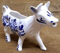 Delft Hand Painted Blue And White Cow Bull Creamer Porcelain China Holland Vtg