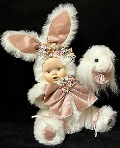 """Porcelain Plush Spring Baby Doll 16"""" Dressed As Easter Bunny"""