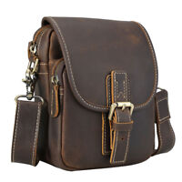 Vintage Mens Genuine Leather Waist Bag Messenger Shoulder Bag Handbag Dark Brown