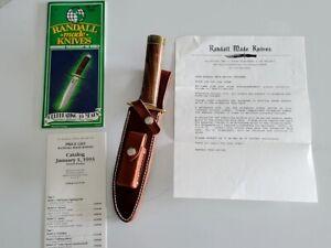 1993 Hand Made Randall 1-6 inch Fighting Knife & Sheath - NEW