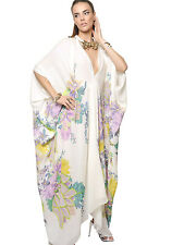 Roberto Cavalli Multicolor Silk Crepe De Chine Caftan Dress  ( 46 IT- 10US)