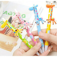 6Pcs Cartoon Giraffe Ball Pens Blue Ink Kids Toy School Office Stationary Cute