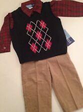 Good Lad Boy Outfit Sweater Vest Plaid Shirt Pants Size 18 Months Green Dressy