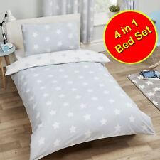 GREY AND WHITE STARS JUNIOR TODDLER BEDDING SET 4 IN 1 - COVERS, QUILT, PILLOW