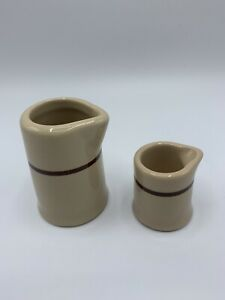 """Vintage Set Of 2 Restaurant Ware China Creamers Tan With Brown 3 1/4"""" & 2"""""""