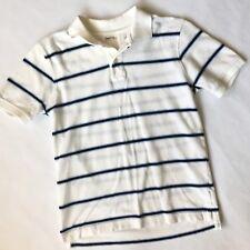 Gap Kids Boys L 10 White And Blue Striped Polo Shirt Top