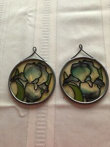 Stained Glass Iris sun catchers--Lot of 2