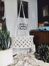 Boho Macrame Baby Bassinet Swing Handmade Vintage