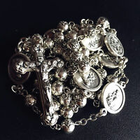 SILVER Rose bead St. Anthony Rosary & Italy Crucifix Cross catholic necklace
