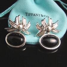 TIFFANY & CO ~ HUGE HEAVY 26GR ~ VINTAGE ONYX FLOWER EARRINGS ~ MINT, VERY RARE!