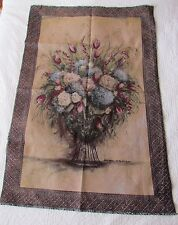 "Hydrangea Tulips Peony Flowers unfinished Tapestry Wall Hanging Panel 55""x37"""