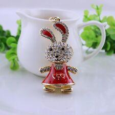 Red rabbit  crystal Keychain Keyring Handbag Accessory Charm Pendant