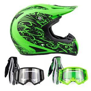 Adult Matte Green Motocross Helmet Combo Gloves Goggles Off-road Dirt Bike ATV