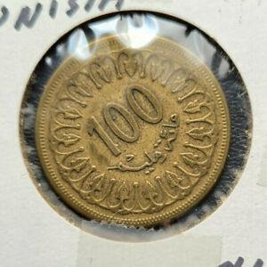 Tunisia 100 Milliemes, 1960 Brass coin, KM#309, Sharp!