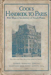OLD COOK'S HANDBOOK TO PARIS (FRANCE) - 1929 - 286 pages full of descriptions