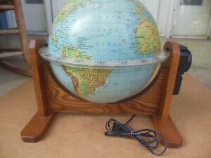 Vintage Sunlit of Seattle Motorized Illuminated World Globe on Oak Stand