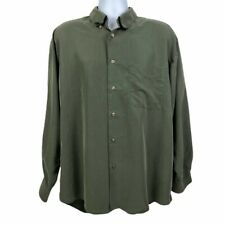 Haggar Collections Men's Size XL Army Green Long Sleeve Button Down Shirt