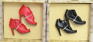 Ellowyne Wilde SHIRRED STEP SHOES in BLACK & RED 2 PAIRS Wilde Imagination NEW