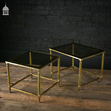 Regency Style Brass Framed Nesting Tables with Glass Tops