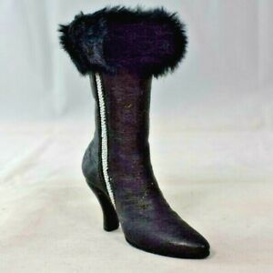 """4"""" Black Leather Style Zippered High Heeled Boot w/Fur Cuff - Resin Figure"""