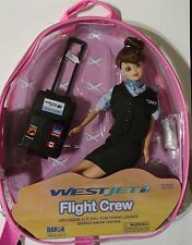 "Flight Attendant Doll WestJet Airlines 11"" Brunette w Backpack & Accessories New"