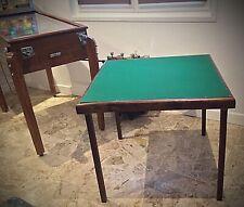 Belle table à cartes bridge vintage pieds rabattants pliable, feutrine verte