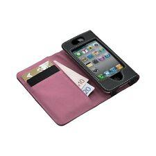 Housse etui portefeuille pour Apple Iphone 4 / 4S couleur rose + Film protecteur